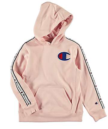 Champion Boys C Patch Taped Pink Hoodie