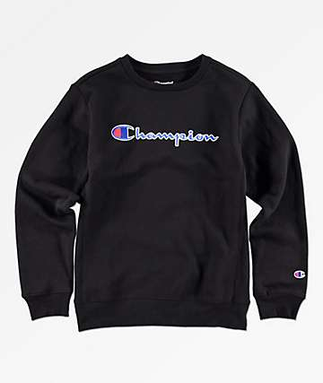 Champion Boys Heritage Black Crew Neck Sweatshirt