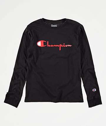 Champion Boys Heritage Black Long Sleeve T-Shirt