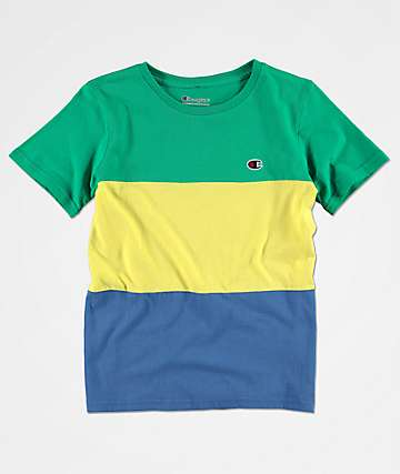 Champion Boys Heritage Colorblock Green, Yellow & Blue T-Shirt