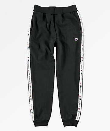 Champion Boys Heritage Logo Tape Black Jogger Pants