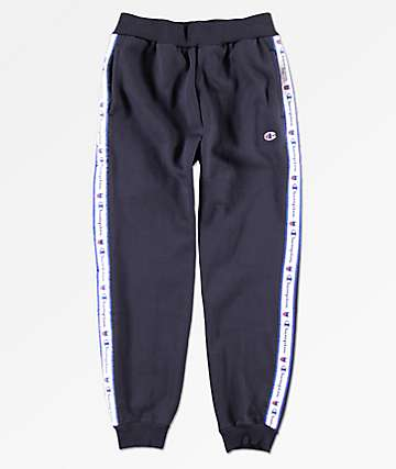 Champion Boys Heritage Logo Tape Navy Jogger Pants