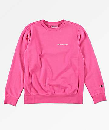 Champion Boys Heritage Pink Crew Neck Sweatshirt