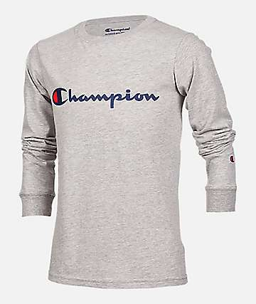 Champion Boys Heritage Script Grey Long Sleeve T-Shirt