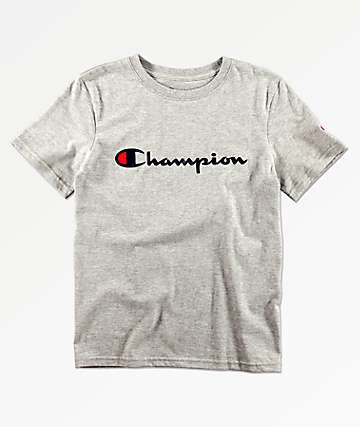 Champion Boys Heritage Script Grey T-Shirt