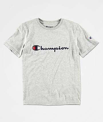 Champion Boys Heritage Script Heather Grey T-Shirt