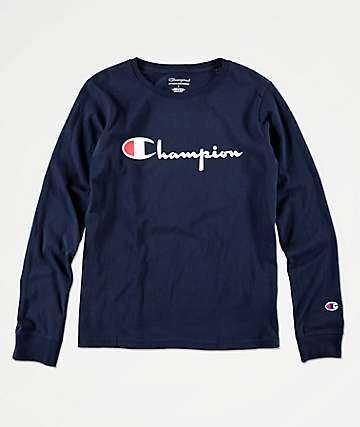 Champion Boys Heritage Script Navy Long Sleeve T-Shirt