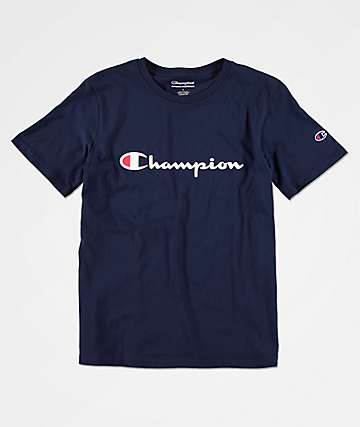 Champion Boys Heritage Script Navy T-Shirt