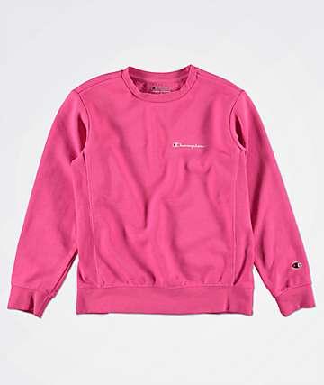 Champion Boys Heritage Script Pink Crew Neck Sweatshirt