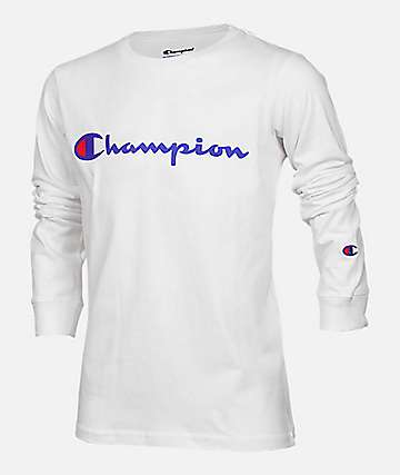 Champion Boys Heritage Script White Long Sleeve T-Shirt