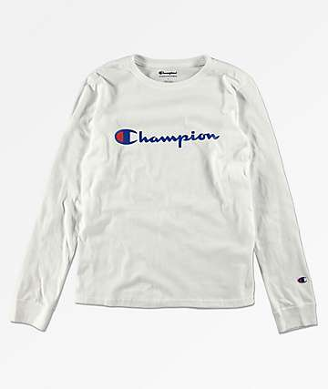 Champion Boys Heritage White Long Sleeve T-Shirt