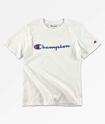 c5f913e9503598 Champion Boys Heritage White T-Shirt