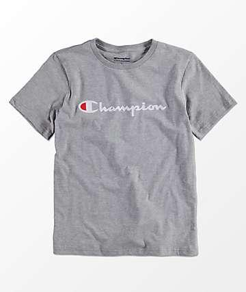 Champion Boys Horizontal Script Grey T-Shirt