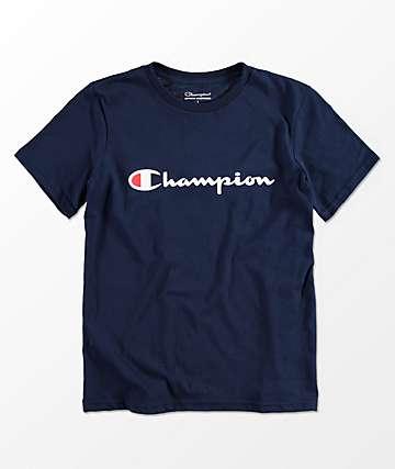 Champion Boys Horizontal Script Navy T-Shirt