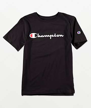 ed860c38f545 Champion Boys Logo Script Black T-Shirt