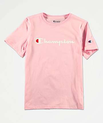 Champion Boys Logo Script Pink Candy T-Shirt