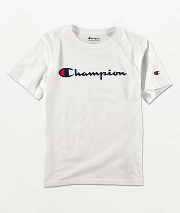 Champion Boys Logo Script White T-Shirt