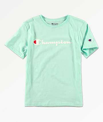 6f0ba7cee49c70 Champion Boys Logo Script Winter Green T-Shirt