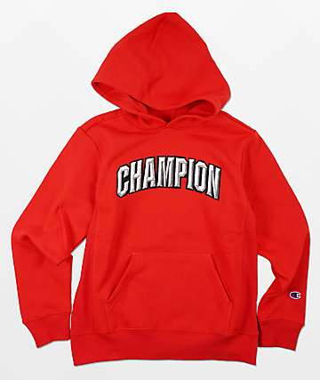 Champion Boys Premium Weave Arc Red Hoddie