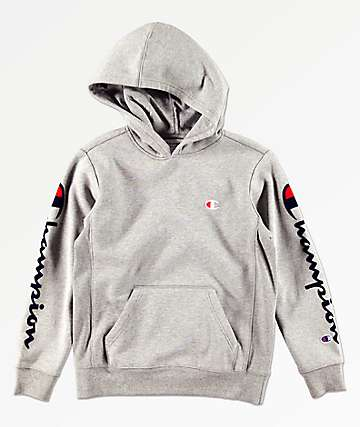 Champion Boys Premium Weave Flock Script Grey Hoodie