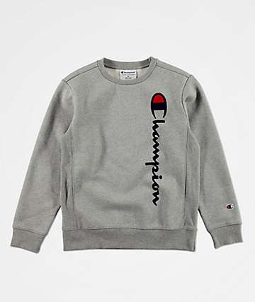 Champion Boys Premium Weave Flocked Grey Crew Neck Sweatshirt