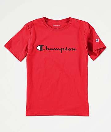 Champion Boys Script Logo Scarlet T-Shirt