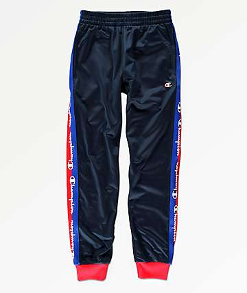 Champion Boys Script Logo Tape Navy Track Pants