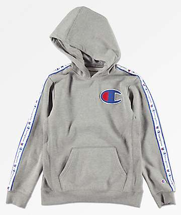 Champion Boys Side Taped Grey Hoodie