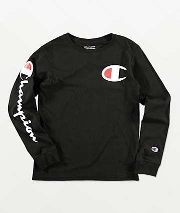 Champion Boys Sleeve Print Black Long Sleeve T-Shirt