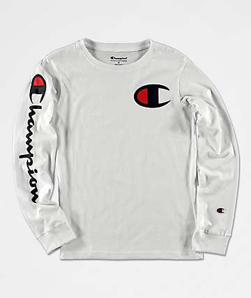 Champion Boys Sleeve Print White Long Sleeve T-Shirt