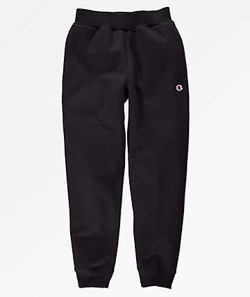 Champion Boys Small C Black Fleece Jogger Sweatpants