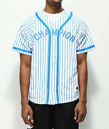 Champion Braided Pinstripe White & Blue Baseball Jersey