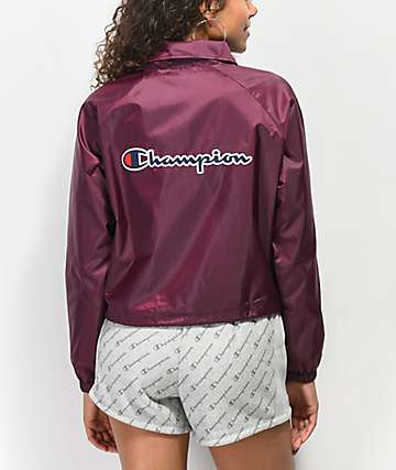 Champion Burgundy Crop Coaches Jacket