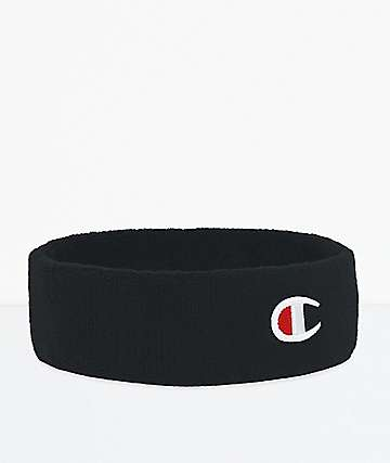 Champion C Logo Black Terry Headband