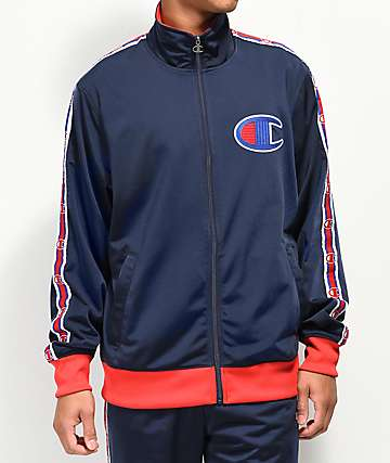 Champion C Logo Tape Blue & Red Track Jacket