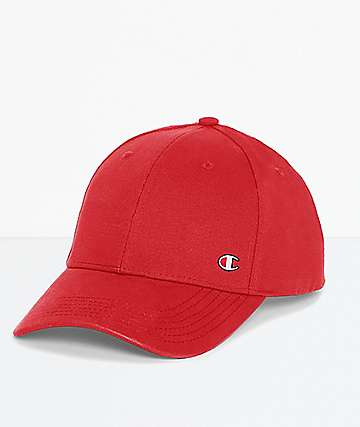 Champion C Patch Scarlet Red Strapback Hat