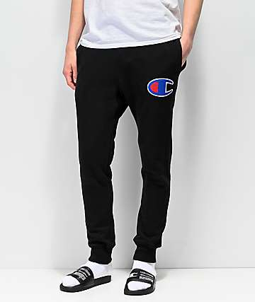 Champion Chainstitch Seal Applique Black Sweatpants