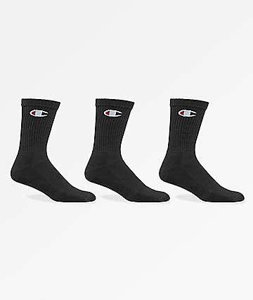 Champion Classic C Logo Black 3 Pack Crew Socks