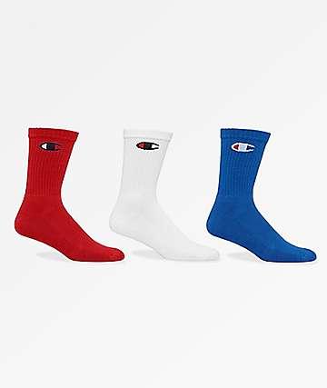 Champion Classic C Logo Red, White & Blue 3 Pack Crew Socks