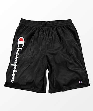 Champion Classic Logo Mesh Black Shorts