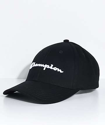 Champion Classic Twill Black Strapback Hat