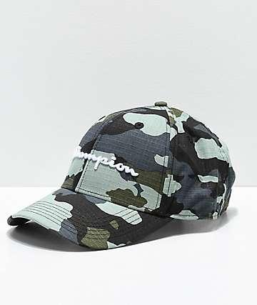Champion Classic Twill Camo Logo Script Strapback Hat