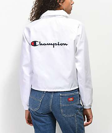 Champion Crop White Coaches Jacket