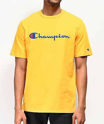 398314076 Champion Embroidered Heritage Script Gold T-Shirt