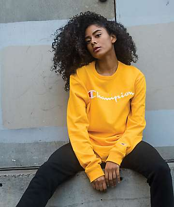 Champion Embroidered Scipt Gold Long Sleeve T-Shirt