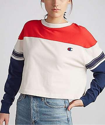 Champion Exaggerated Sleeve Cream, Indigo & Red Long Sleeve T-Shirt
