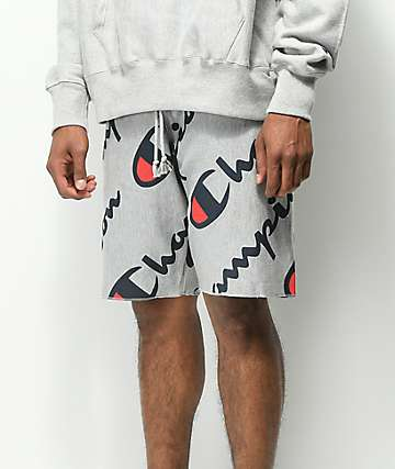 Champion Explode Script Reverse Weave Terry Athletic Grey Shorts
