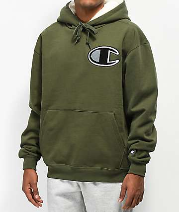Champion Fleece Lined Green Hoodie