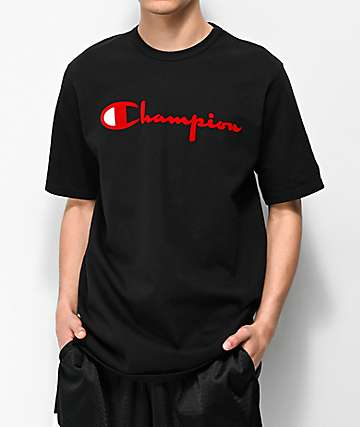 40a243a1989 Champion Flock Script Black   Red T-Shirt