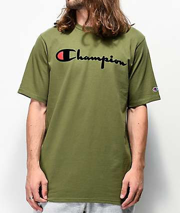 Champion Flock Script Olive T-Shirt
